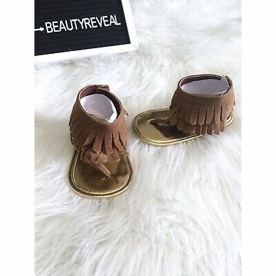 NEW Baby Girl Brown Faux Suede Fringe Sandals Crib Shoes 1 2 3