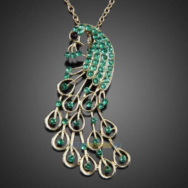 Vintage Green Rhinestones Studded Peacock Pattern Pendant Necklace LS4G