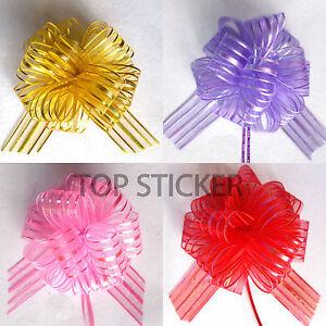 10pcs-Pom-Pom-Bow-50MM-LARGE-ORGANZA-RIBBON-PULL-BOWS-WEDDING-PARTY-GIFT-WRAP