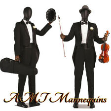 Male Full Body Mannequins Flexible Arms Articulated Fingers Black Mannequin