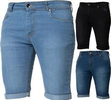 Kruze Designer Mens Denim Shorts Skinny Stretch Fit Summer Half Jean Pants