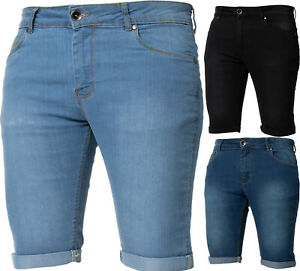 Kruze-Designer-Mens-Denim-Shorts-Skinny-Stretch-Fit-Summer-Half-Jean-Pants