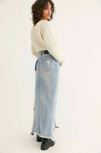 Free People NWT Funky Boho Twisted Denim Maxi Skirt NEW
