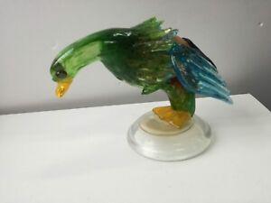 Uccello volatile in vetro di Murano multicolore statuina scultura 16cm splendido