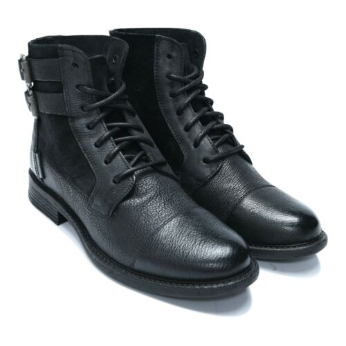 LaceUp /& Buckle Women/'s Leather Boots with side Velvet Biker Boots /& Shoes