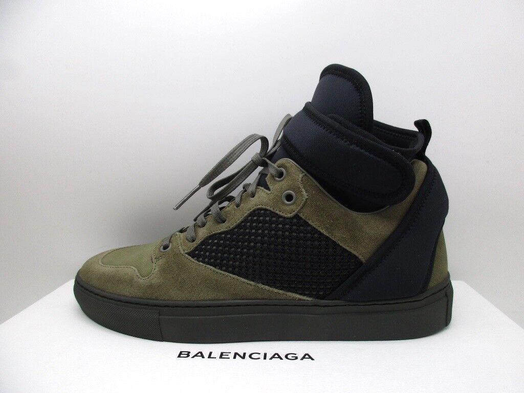 Balenciaga Mens Green Suede High Top Sneakers Shoes 40