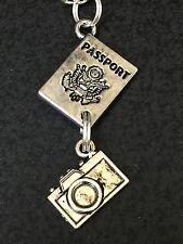 "Passport & Camera Charm Tibetan Silver with 18"" Necklace BIN"