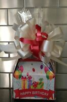 Happy Birthday Gift Box- Basket Full Of Candy Wrapped , Bow & Card