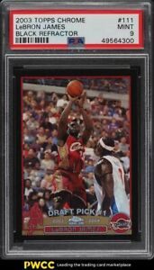 2003-Topps-Chrome-Black-Refractor-LeBron-James-ROOKIE-RC-500-111-PSA-9-MINT