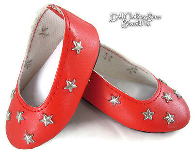 "July 4th Celebration Red Star Flats Shoes for 18"" American Girl Doll Clothes"