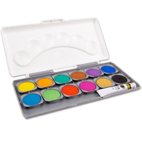Deckfarbkasten Tuschkasten Tusche 12 oder 24 Farben mit Deckweiß Idena