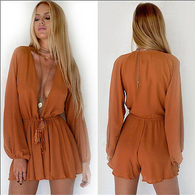 Women Summer Clubwear V-Neck Playsuit Bodycon Party Jumpsuit Romper Trousers New