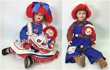 SET OF 2 DANBURY MINT RAGGEDY ANN & ANDY PORCELAIN DOLLS COA USED