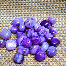 2pc Madagascar Banded Agate Tumbled Patterns - Dyed Purple