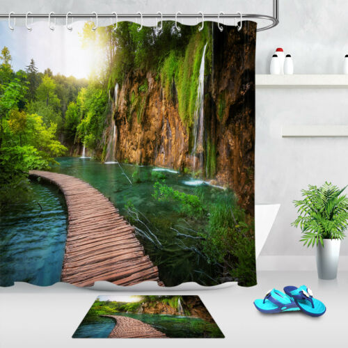 Green Forest Wood Path Trail Lake Waterfall Scenery Shower Curtain Bathroom Mat