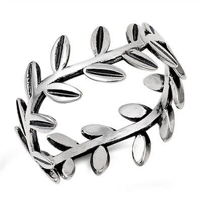 925 STERLING SILVER Olive Leaf Leaves Vine Band Ring Plus Size 9 10 11 12 T V X