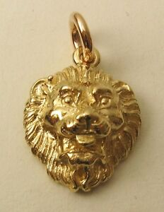 Large genuine solid 9k 9ct yellow gold lion head pendant ebay image is loading large genuine solid 9k 9ct yellow gold lion aloadofball Choice Image