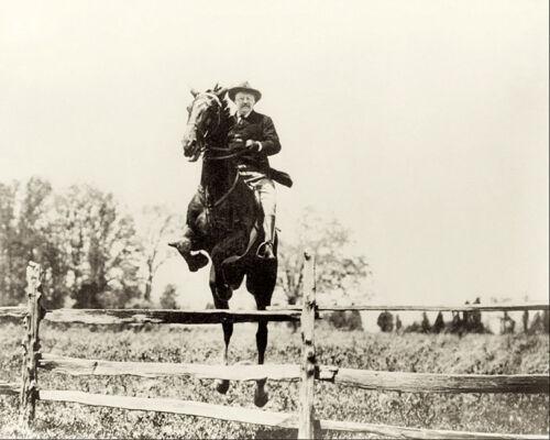 PRESIDENT THEODORE ROOSEVELT ON HORSEBACK 8x10 SILVER HALIDE PHOTO PRINT