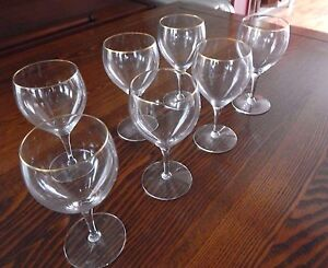 Lenox 10 oz chantilly gold rimmed crystal stemware wine goblets 7 pieces euc ebay - Lenox gold rimmed wine glasses ...