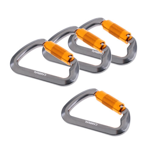 4 Packs Auto Locking Carabiner Clips Twist Lock D Shaped 25KN for Rappelling