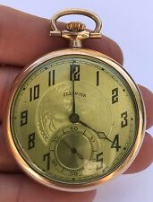 VINTAGE Rare ILLINOIS 14k Gold Filled Open Face Pocket Watch 17 Jewels