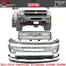 Front Bumper Kit Chrome Steel Grille For 2011 2014 Chevy Silverado 2500hd 3500 Fits More Than One Vehicle