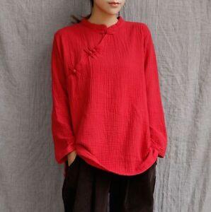 Women-Cotton-Linen-Shirt-Long-Sleeve-Frog-Button-Loose-Casual-Vintage-Blouse-Top