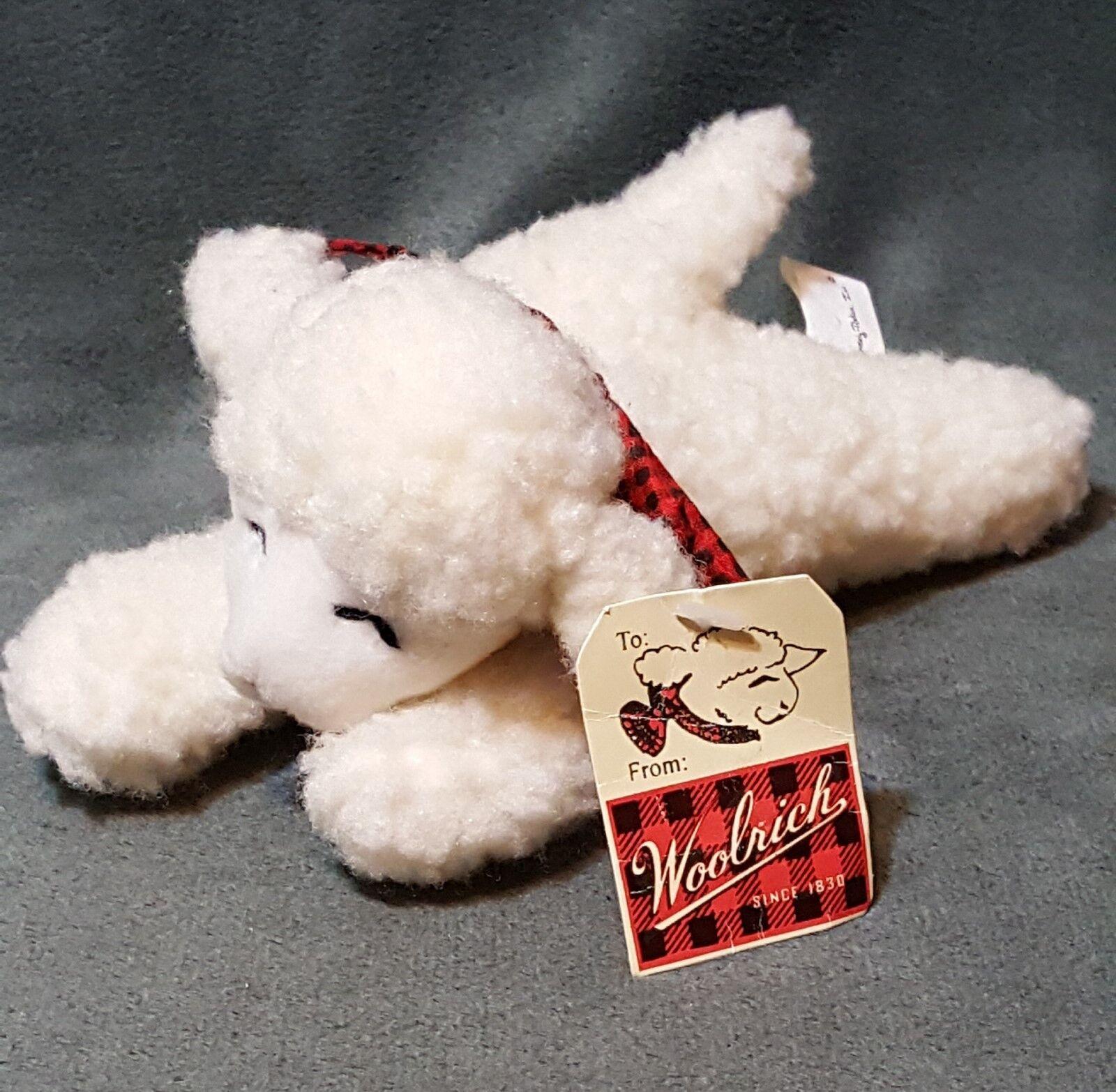 1997 Woolrich Sheep Plush Stuffed 7  Overly Raker Inc Plaid Bow Lamb Laying