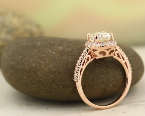 diamond dvvs1 14k rose gold over 1.8ct round brilliant solitaire engagement ring
