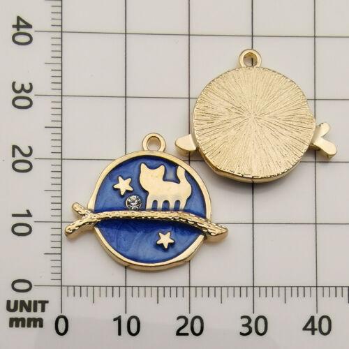 8PC Cute Moon//Star//Planet Enamel Charm Pendant For DIY Earrings//Bracelet Craft