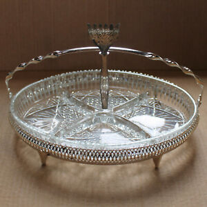Silver-Plated-QUEEN-ANNE-Tableware-4-Section-OVAL-Hors-D-039-Oeuvre-11-5in-Fork