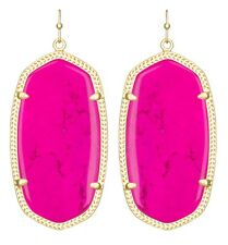 Kendra Scott Danielle Earrings in Magenta Pink Magnesite & Gold Plated