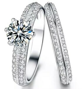 1Ct-Round-Cut-Diamond-Bridal-Solitaire-Knife-Engagement-Ring-925-Sterling-Silver