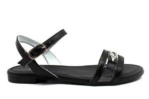 Sandali-scarpe-da-donna-bassi-Nero-Giardini-E012481D-estive-casual-con-cinturino