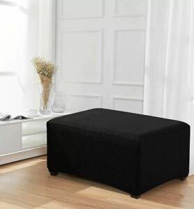 Stretch Spandex Jacquard Rectangle Folding Box Cushion Ottoman Slipcover Black Ebay