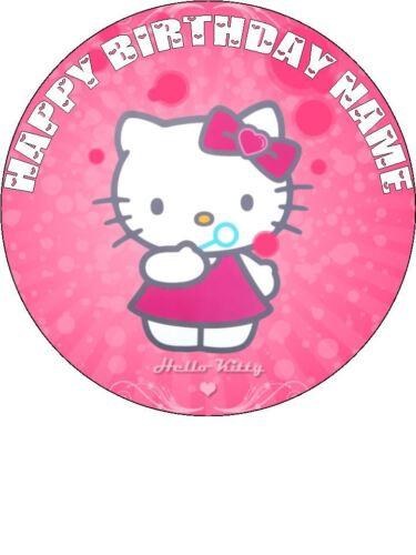 """EDIBLE ROUND 7,5/"""" HELLO KITTY BIRTHDAY CAKE TOPPER"""