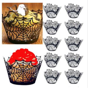12PC-Halloween-Spider-Cupcake-Wrappers-Paper-Cake-Topper-Favor-Party-Decor-Black