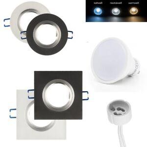 Spot-Encastre-Verre-GU10-LED-Cadre-D-039-Encastrement-de-Plafond-Rond-Carre-Givre