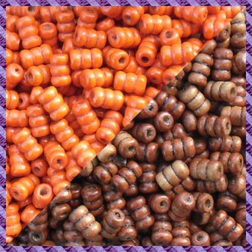 100 Perles Bois Tube 2 coloris Orange Marron Foncer