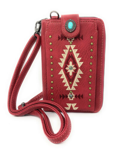 Montana West Womens Crossbody Wallet Embroidered Collection Cell Phone Case