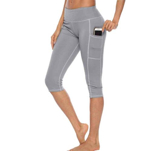 Woman 3//4 Capris Leggings Side Pocket High Waist Workout  Running Yoga Pants