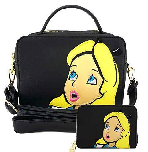 Alice In Wonderland Purse Tote Loungefly Wallet Set Crossbody Black Licensed