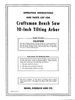Craftsman 113.27520 10 Tilting Arbor Bench Saw Instructions
