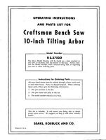 Craftsman 113.27520 10 Tilting Arbor Bench Saw Instructions