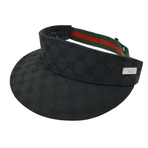 b846a09f71d1ff Authentic GUCCI Vintage Shelly Line Sun Visor Hat Black #S Italy ...