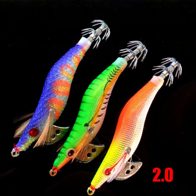 4 Colours Fluoro Quality Hinomiya Ultrastick 16 Squid Jigs Four Sizes 2.0-3.5