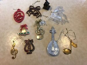 Music Themed Christmas Ornaments.Details About Music Themed Christmas Ornaments Lot Baby Grand Lyre Mandolin Bells Treble Clef