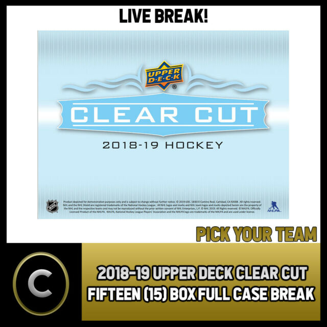 2018-19 UPPER DECK CLEAR CUT 15 BOX (FULL CASE) BREAK #H535 - PICK YOUR TEAM