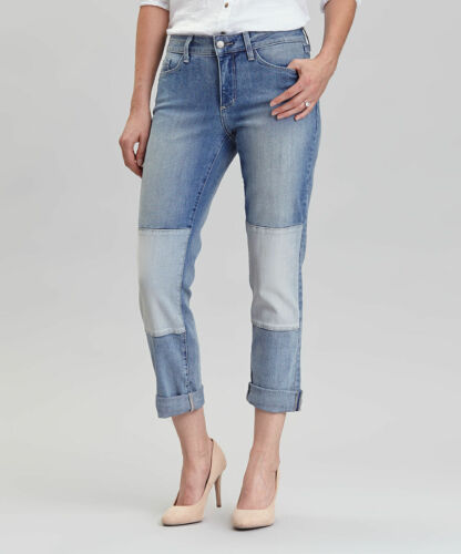 NYDJ NOT YOUR DAUGHTER Blue JEANS CAPRI KARMIN PATCHED SKINNY