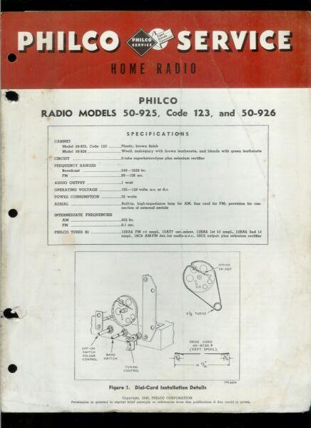 Rare Factory Philco 50-925 Code 123 50-926 Am Fm If Radio Service/repair Manual